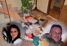 Il corridoio di casa Antonella Lettieri dopo il delitto. A destra il presunto killer Salvatore Fuscaldo