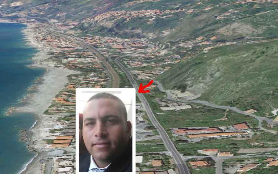 Il luogo dell'incidente a Cetraro nel riquadro Vito Sciammarella
