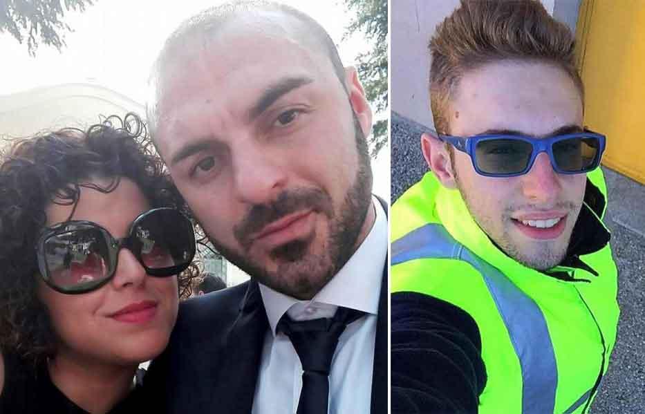 Roberta Smargiassi con il Fabio Di Lello. A destra Italo D'Elisa, il ragazzo ucciso dal panettiere per vendicare la moglie