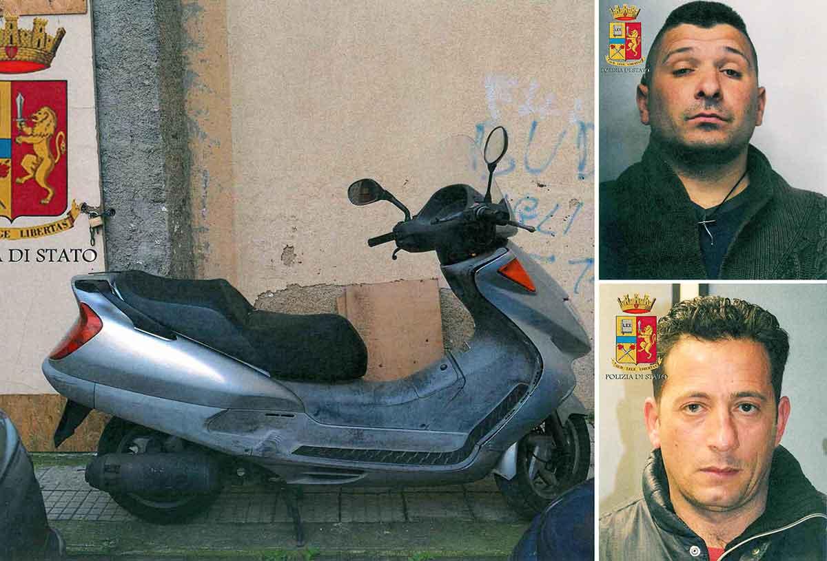 scooter usata dai due. In alto Cesare Bevilacqua e Agostino Martino