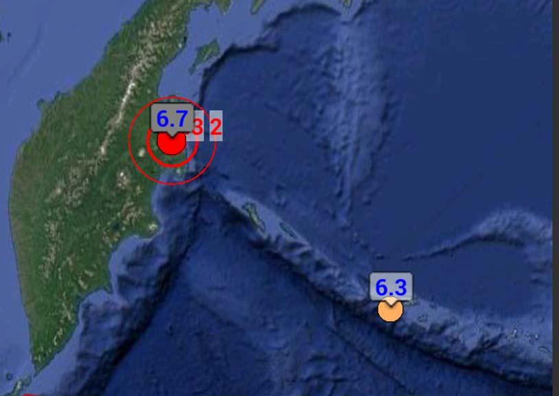Col punto rosso il violento sisma nella penisola di Kamchatka, a nord-est della Russia