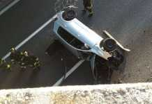 L'auto precipitata nel Varesotto