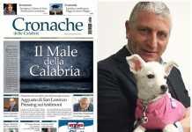 """Una prima pagina del quotidiano Cronache delle Calabria a destra """"l'editore"""" Francesco Armentano"""