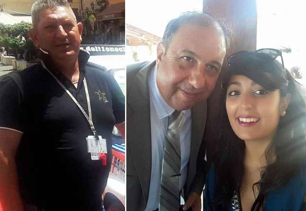 Da sinistra le vittime Giuseppe Laganà e Mauro Amendolia. Insieme al papà la figlia Gemma rimasta ferita