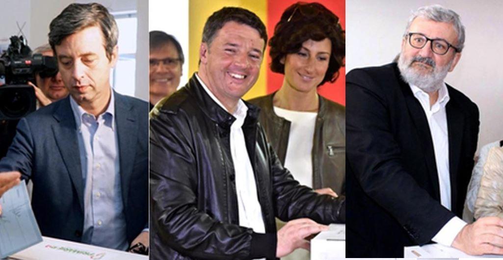 Da sinistra i tre candidati Orlando, Renzi e Emiliano