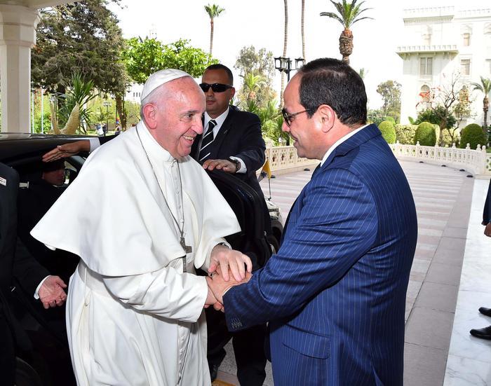 Papa Francesco con il Presidente egiziano Abdel Fattah al-Sisi