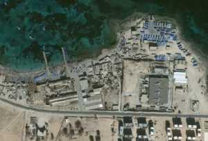 Barche ormeggiate al Sabrata, Libia