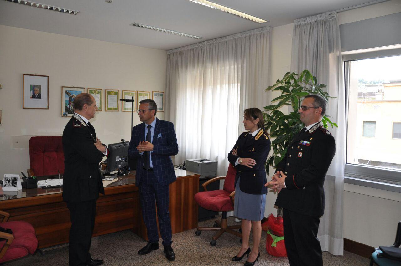 Il generale Vincenzo Paticchio, il questore Conticchio, la dirigente di Polizia Fabris e il colonnello provinciale dell'Arma Ottaviani