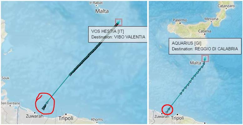 Nelle due immagini le rotte delle due navi Acquarius e Vos Hestia che approdano domenica in Calabria