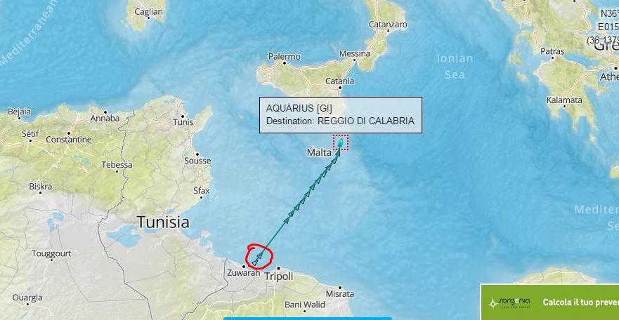 Il tracciato della nave Aquarius di Sos Méditerranée che porta oltre 700 clandestini a Reggio Calabria