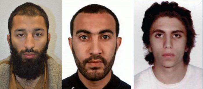 Le foto dei tre terroristi di Londra, da sinistra Khuram Shazad Butt, Rachid Redouane e Youssef Zaghba (italo marocchino