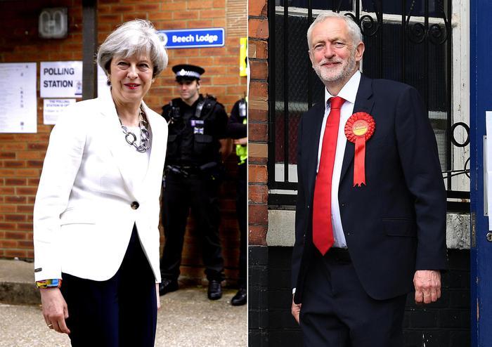 Theresa May e Jeremy Corby