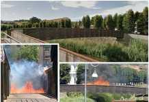La passerella sul Busento prima e durante l'incendio