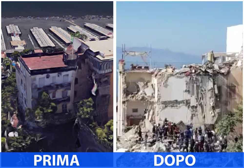 Il palazzo di Torre Annunziata prima e dopo