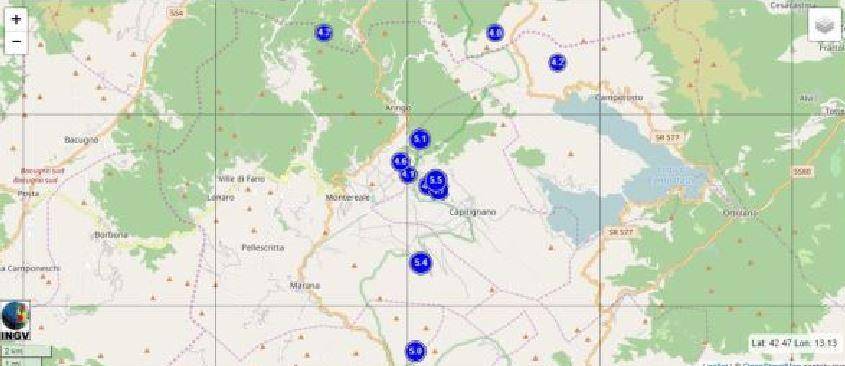 Localizzazione dei terremoti di magnitudo uguale o maggiore di 4.0 dal 24 agosto 2016 ad oggi.