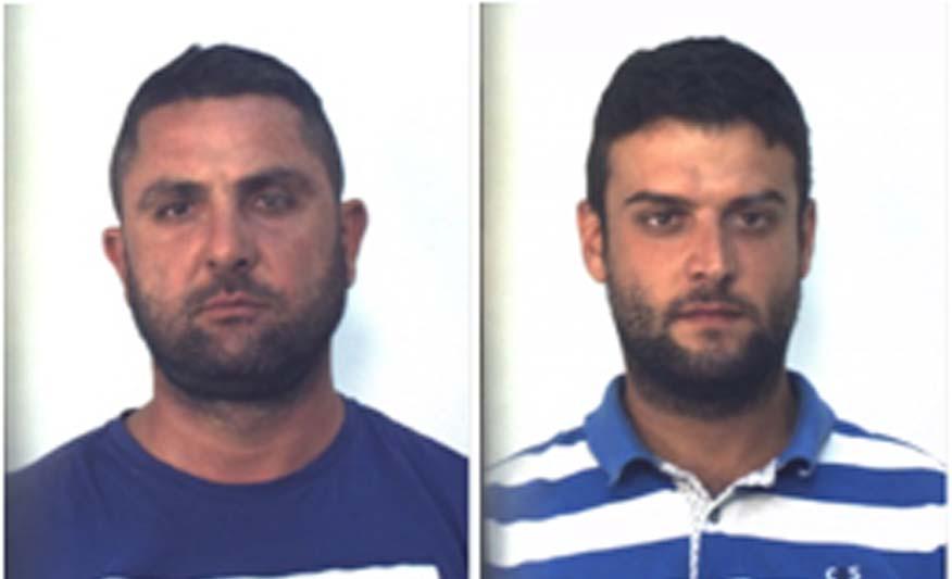 Da sinistra Francesco Cortese e Dario Mantino, arrestati per la rapina alle poste di Pizzo