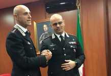 Da sinistra il neo comandante dei carabinieri di Cosenza Pietro Sutera con Fabio Ottaviani
