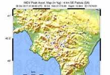 La mappa di scuotimento del terremoto Padula