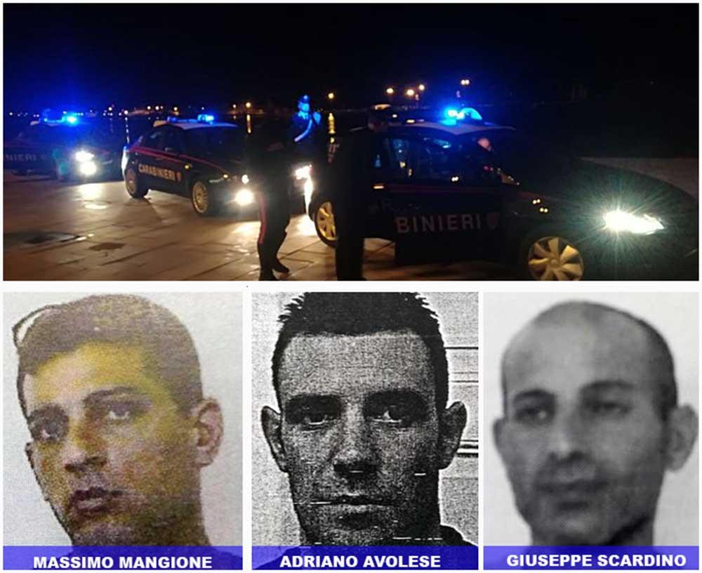 catturati i tre evasi dal carcere di Favignana, Massimo Mangione, Adriano Avolese e Giuseppe Scardino