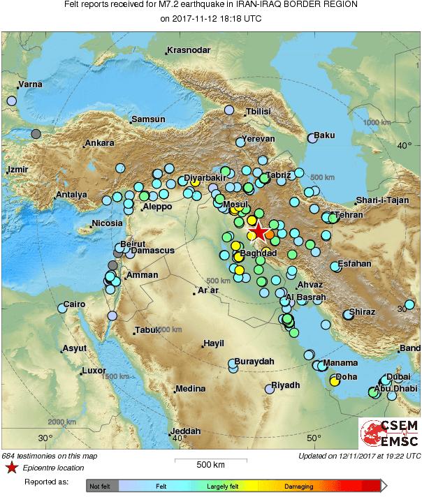 mappa testimonianze del terremoto in Iraq