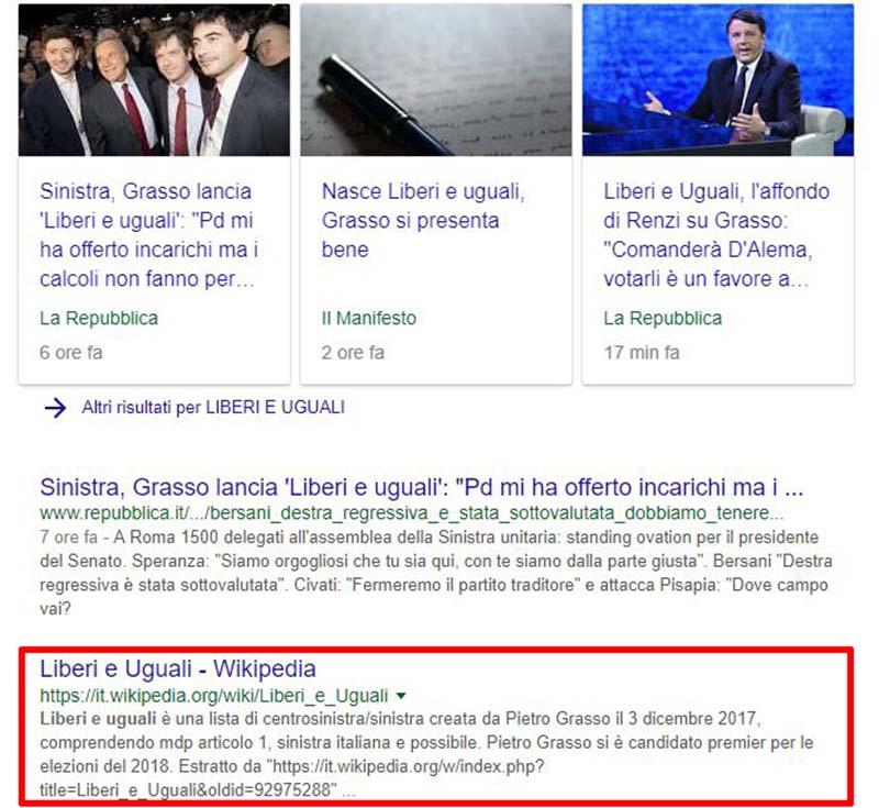 Una ricerca su Google di Liberi e uguali mostra il testo originario della pagina poi cancellata su Wikipedia