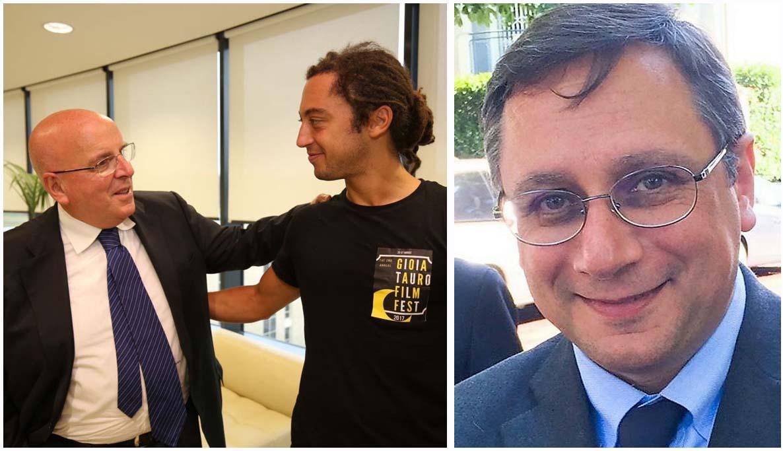 A sinistra il presidente della Regione Calabria Oliverio con il regista Carpignano. A destra Marziale
