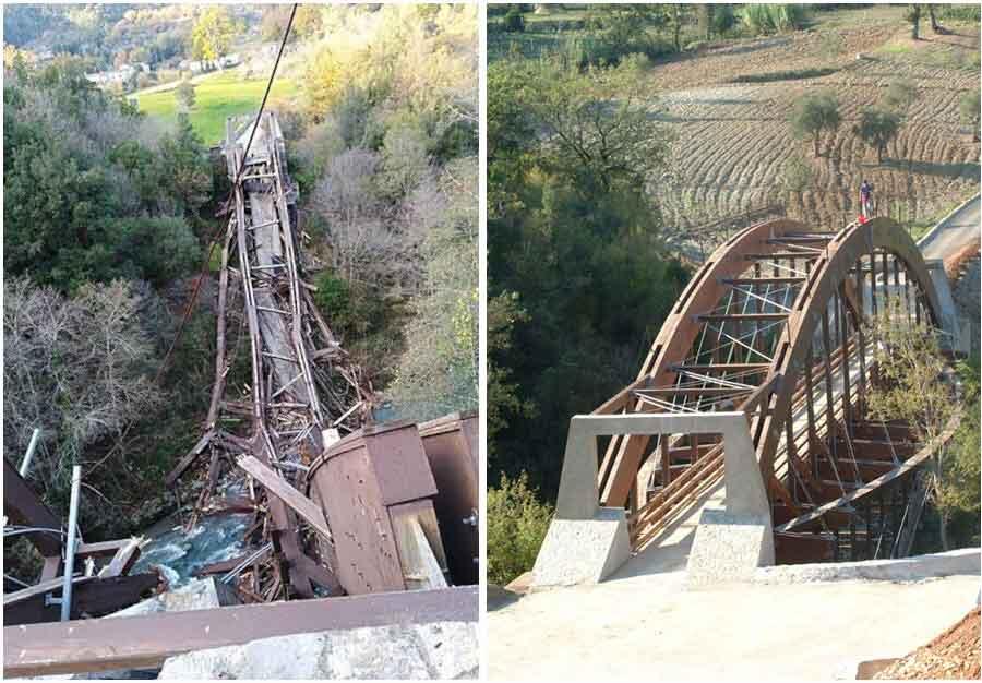 crollo ponte fiume Lao