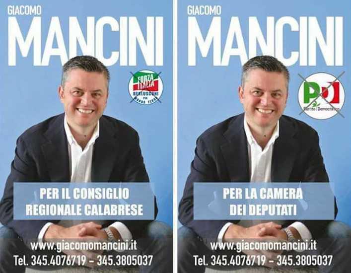 Mancini nei due manifesti del 2014 e 2018