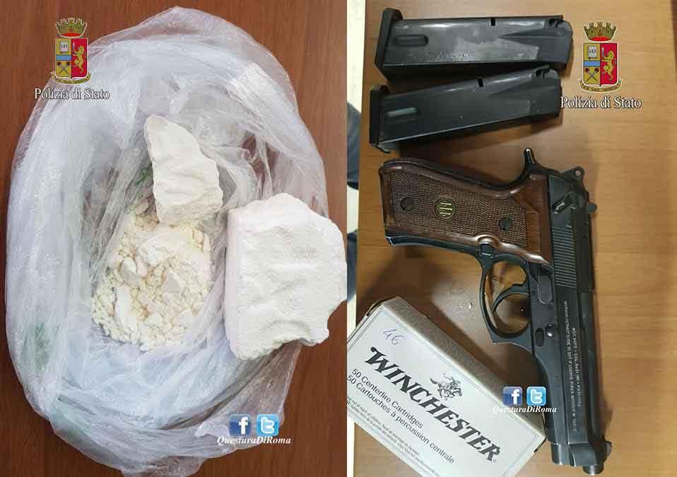 arma-cocaina-guardia-giurata-roma