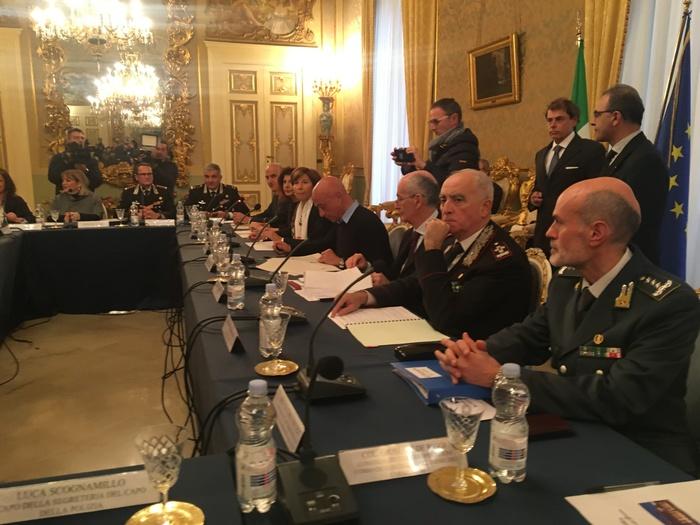 Riunione a Bari del Comitato per l'Ordine e la sicurezza pubblica presieduta dal ministro dell'Interno, Marco Minniti