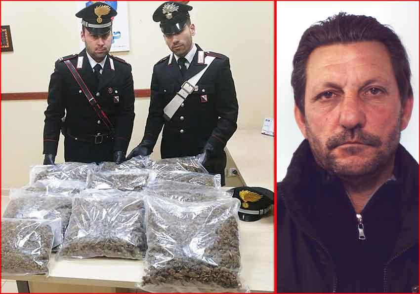 I carabinieri con la marijuana sequestrata. A destra l'arrestato Giuseppe Pace
