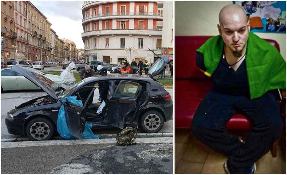 L'Alfa 147 dell'attentatore di Macerata, Luca Traini, a lato