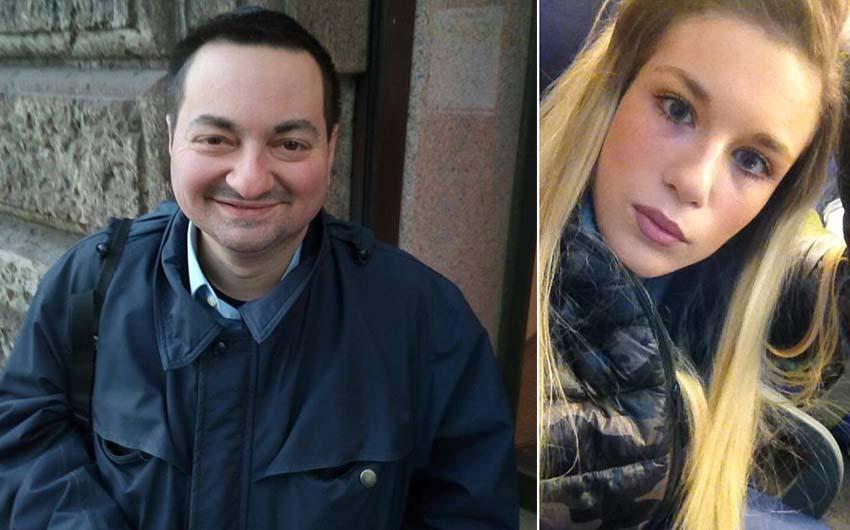 Da destra la vittima Jessica Valentina Faoro e il sospettato arrestato Alessandro Garlaschi