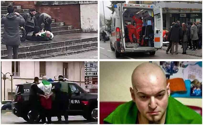 Una sequenza della drammatica mattinata a Macerata con lo sparatore Luca Traini (Ansa)