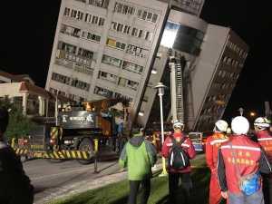 L'Hotel Marshal a Hualien dopo il potente terremoto nell'isola di Taiwan