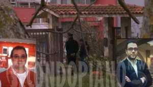 Investigatori nella villa dov'è avvenuto il massacro. Nei riquadri Salvatore Giordano (S) e Giovanni Giordano