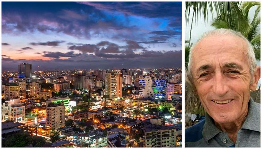 Una panoramica di Santo Domingo. A destra Vittorio Giuzzi