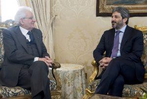Sergio Mattarellacon il presidente della Camera Roberto Fico