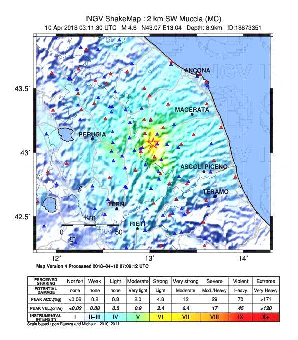 intensita terremoto muccia