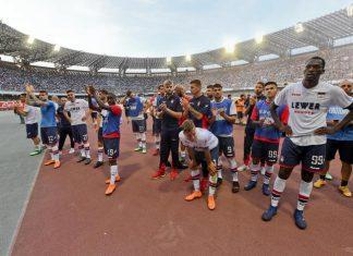La squadra al termine della partita con il Napoli