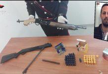 Le armi sequestrate a Lamezia, nel riquadro Valentino Perri