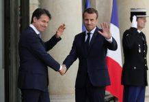 Emmanuel Macron con il premier Italiano Giuseppe Conte all'Eliseo