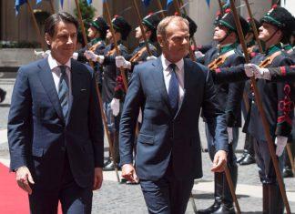 L'incontro a Palazzo Chigi tra il Premier Giuseppe Conte e Donald Tusk
