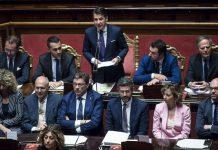 Il presidente del Consiglio Giuseppe Conte al Senato per la fiducia