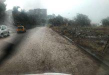 Strade invase da acqua e fango a Nicotera a causa di un nubifragio.