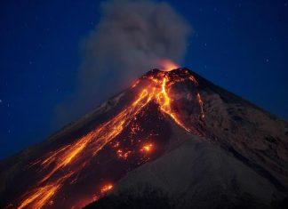 Eruption of the Volcan de Fuego in Guatemala