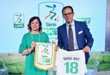 Da sinistra Lucia Salmaso, ad di BKT Europe e Paolo Bedin, direttore generale della Lega calcio di B