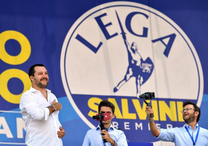 Il segretario della Lega e ministro dell'Interno Matteo Salvini al raduno della Lega a Pontida