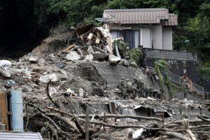 Un villaggio in Giappone inondato dall'acqua