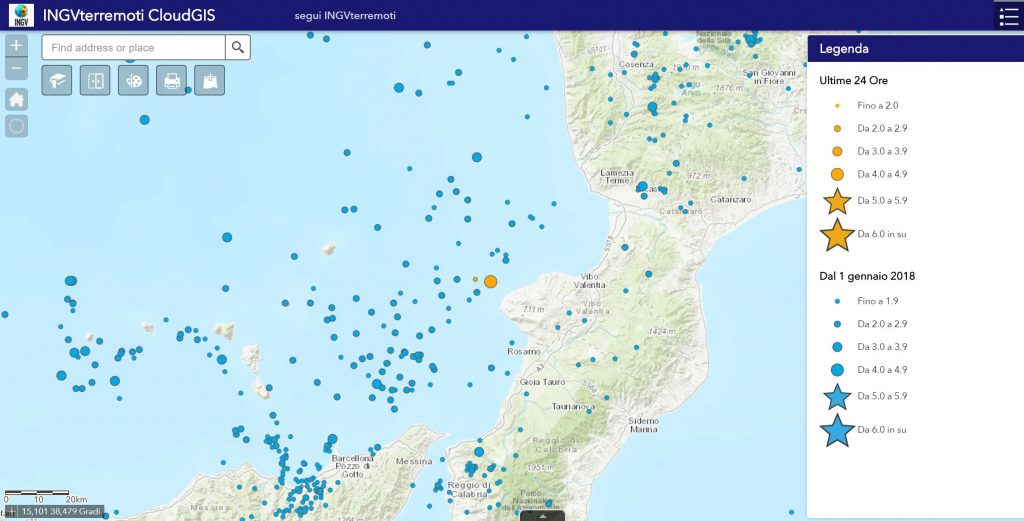 mappa terremoto 4.4 tropea ricadi